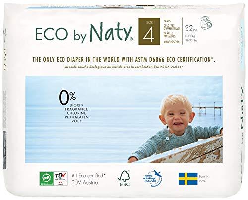 Eco by Naty, Pants, talla 4, 88 pañales, 8-15kg, Suministro para un mes, Pañales Pants Ecológicos Premium Hechos A Base de fibras Vegetales. sin Sustancias Nocivas