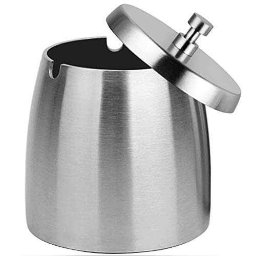 OILP Outdoor Ashtray with Lid for Cigarettes,Stainless Steel Windproof/Rainproof Ashtray for Outside Home Table (X-Large)