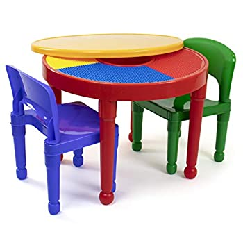 Humble Crew Red/Green/Blue Kids 2-in-1 Plastic Building Blocks-Compatible Activity Table and 2 Chairs Set Round Primary Colors