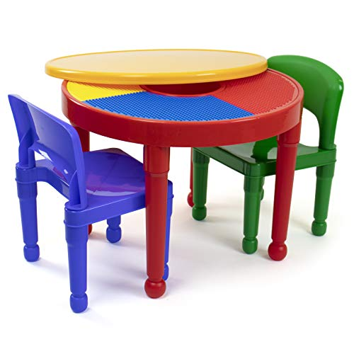 Humble Crew, Red/Green/Blue Kids 2-in-1 Plastic Building Blocks-Compatible Activity Table and 2 Chairs Set, Round, Primary Colors