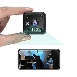 TeamMe Mini Kamera 1080P HD WLAN IP Kamera mit Akk Videoanrufkamera Nanny Sicherheitskamera für Innen Aussen mit Bewegungserfassung und Nachtsicht, Fernzugriff, Zeitpläne, Schwarz