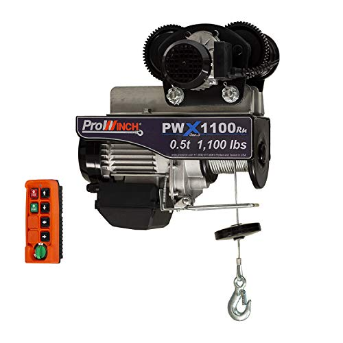 Prowinch 1/2 Ton Electric Wire Rope Hoist with Electric Trolley 1000 lb Load Capacity Crane with Wireless Remote Control System Overhead Garage Ceiling Winch 110V