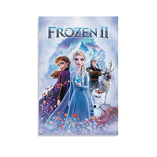 Frozen 2 carteles de película vintage en lienzo decorativo para colgar cuadros de decoración de pared, sala de estar, hogar, pared de 50 x 75 cm