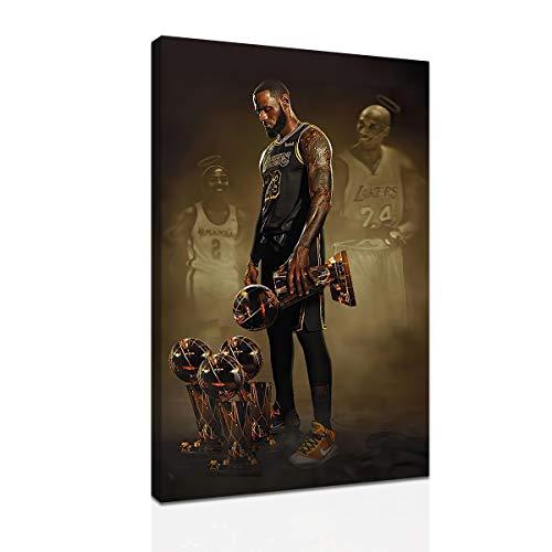 The Basketball Championship Trophy Mvp LeBron James Memorial Kobe and Gigi Basketball HD Poster Canvas Print Wall Art Painting (12 * 18inch,No Framed)
