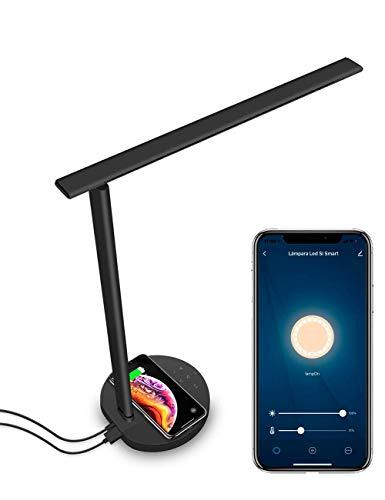 Lampada da scrivania Wi-Fi intelligente Alexa, Google Home e Smart Life, nero, protezione per gli occhi, colore regolabile e ricarica wireless e USB