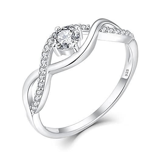 YL Verlobungsring Infinity Wickelring Eheringe Verlobungsring Band Ring, Vorsteckring Trauring Silber ring mit Stein für Damen.Größe 52