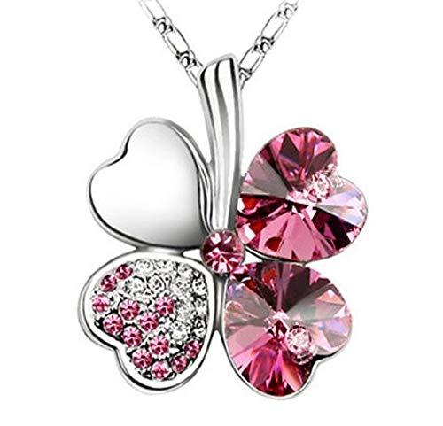 Quadiva C! - Collar para mujer con colgante de trébol (cristales brillantes de Swarovski), color dorado y rosa