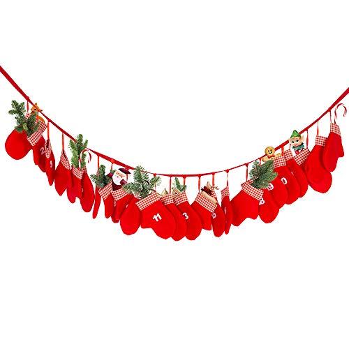 Edaygo Adventskalender zum Befüllen Weihnachtskalender Wiederverwendbar, 24 XL Filz Handschuhe à 18 x 13,5 cm, Rot, mit Aufhänge-Ösen, inkl. 195 cm Kordel