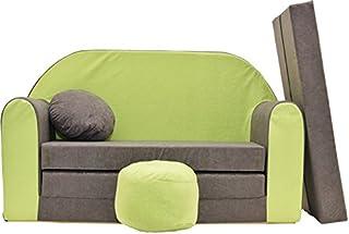 comprar comparacion Pro Cosmo A1 - Sofá Cama Infantil con puf, reposapiés, Tela Gris y Verde, 168 x 98 x 60 cm