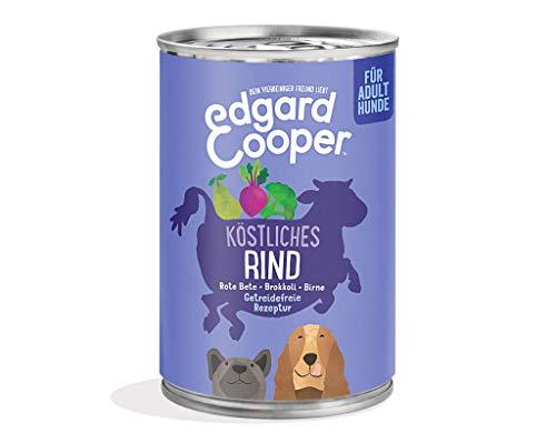 Edgard Cooper natürliches Premium Nassfutter für Adult Hunde in Dosen - 6 x 400g - Rind - getreidefrei