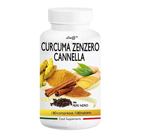 CURCUMA ZENZERO CANNELLA e pepe nero Line@   180 compresse   Per riattivare il metabolismo e la digestione   le spezie dagli effetti magici