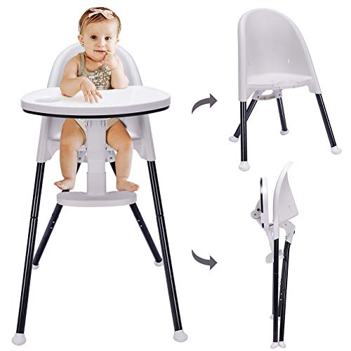HAN-MM High Chair Folding,One Click fold,Save Space, Detachable Double Tray, Infant Chair, Car Traveling, 3 in 1 Convertible, 3-Point Harness, Adjustable Footrest, Non-Slip Feet,White