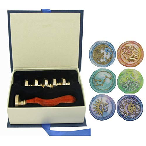 Moon Wax Seal Stamp Set, VIHOME 6 Pieces Star Planet Sun Big Dipper Sealing Wax Stamps Copper Seals + 1 Wooden Hilt (Moon+Star+Sun+Planet+Dipper Stamp Kit)