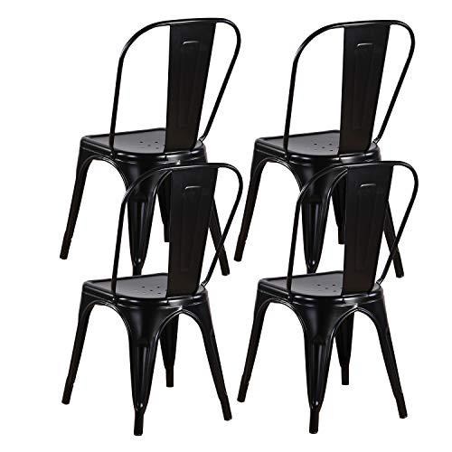 MUEBLES HOME - Juego de 4 sillas de comedor de metal, silla de cocina industrial apilable vintage con respaldo alto para interiores y exteriores, para patio, cafetería y bistro, color negro