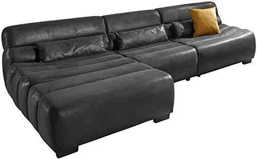 Cavadore Ecksofa Scoutano in Antiklederoptik mit Recamiere links / Sofa L-Form mit XXL-Longchair im Industrial Design / 268 x 76 x 170 cm / Lederoptik Deep Black