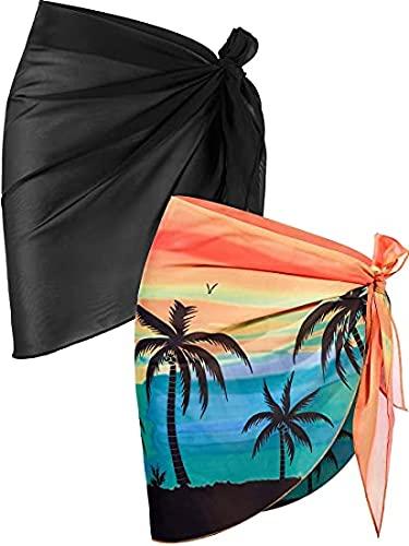 JFAN Traje de Baño para Mujer Bikini Cubierta Falda de Chifón Pareo de Playa Piscina Vacaciones