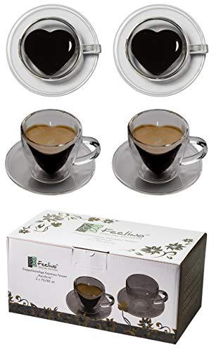 Feelino 2X 70ml doppelwandige Herzform Espresso-Tassen mit Henkel und Untersetzer, für Ihren ganz besonderen Espresso, 2 Herztassen Thermotassen mit Unterteller by