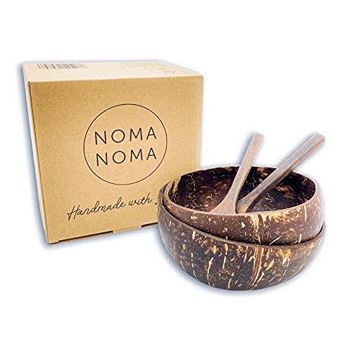 NOMA NOMA Kokosnuss Schalen Set mit Holzlöffel   2 Stück   100% Naturprodukt   Smoothie Bowl   Buddha Bowl   Acai Bowl   Holz Schalen   Holz Schüssel   Coconut Bowl   Handmade   Zero Waste   Vegan