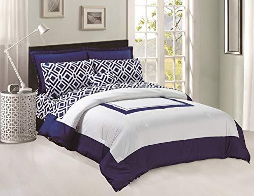 Legacy Decor Comforter y Hojas Set 8pcs Suave Microfibra Azul Marino Azul y Blanco tamaño King