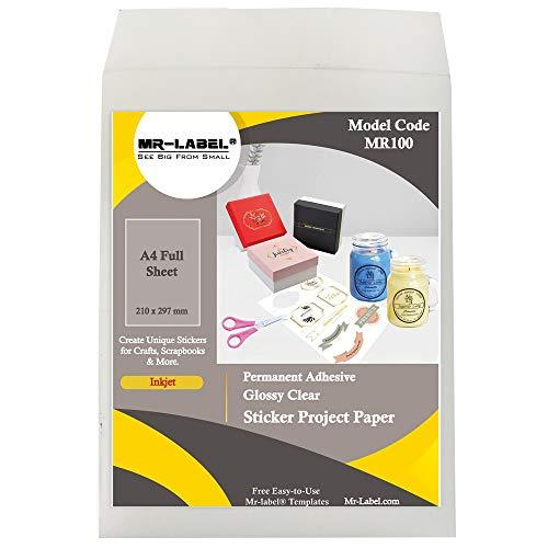 Mr-Label Vollständiges A4-Blatt Hell transparent Versandetikett | Paketschein | Addressen Aufkleber - Bedruckbares Stickerpapier für Bastelzwecke - nur für Tintenstrahldrucker (10 Etiketten)