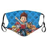 Hisportbon Cartoon p_aw p_atrol Funny FNAF Bandana Shield for Boy Girl Kids Dust Outdoor Masks with Protective 2 Filters