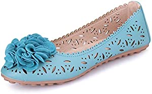 ZKYSO Women's Cutout Ballet Shoes Round Toe Ruffle Flower Slip On Comfortable Scalloped Flats Loafers