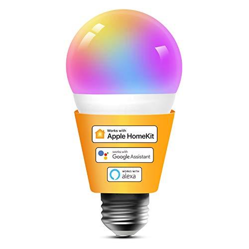 Homekit WLAN Glühbirne, Refoss Smart E27 LED Lampe Dimmbare Mehrfarbige, kompatibel mit, Alexa, Google Assitant, 60W 2700K-6500K, 2,4Ghz