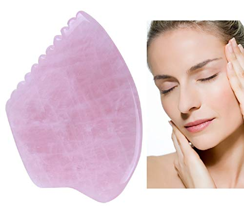 Best 5A Quality Gua Sha Massage Tool for Scraping Facial and Body Skin Massage made of Rose Quartz Bian Stone Amethyst for Acupressure Scrapper Gua Sha Facial Tools (style 1 with comb edge)