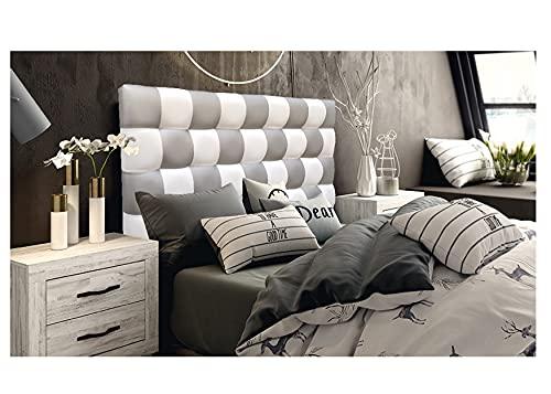 ONEK-DECCO Cabecero de Cama, tapizado en Polipiel Mod. Kansas Patchwork 2 Colores Blanco-Plata para Cama de niño, Juvenil y Matrimonio (Blanco-Plata, 165X70)