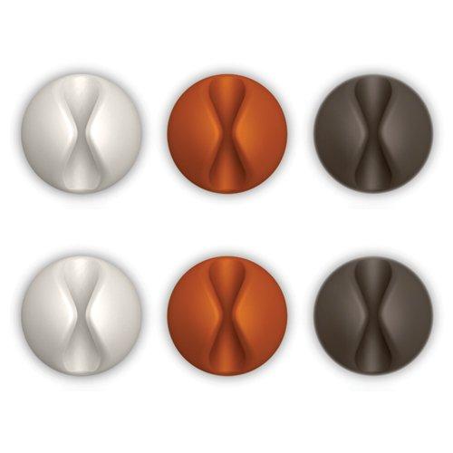 Bluelounge CableDrop Kabelclip (28x14mm, 3 x 2 Farben)  weiß, grau, braun