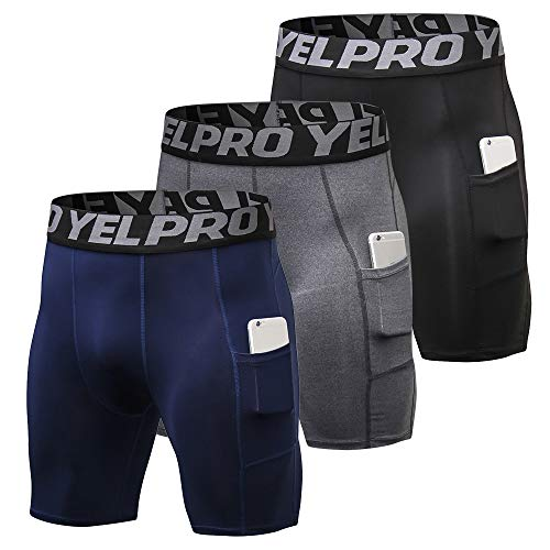 419+8 BMeOL. SS500  - Lixada Men's Compression Shorts Pants Sports Baselayer Tights Active Workout Underwear Leggings with Pockets - - Large