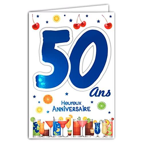 Afie 69-2134 Carte Anniversaire 50 ans Homme - Couleur (Bleue ou Rouge) selon disponibilité - Voiture de collection Vin Lecture Livres Lunettes de soleil 69-2134