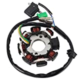 Magneto Ignition Stator 5 wires DC 8 Poles Fits for GY6 49cc 50cc 80cc 100cc 125cc 150cc to 180cc Scooter Moped ATV Sunl Roketa Dune Buggy Go Kart