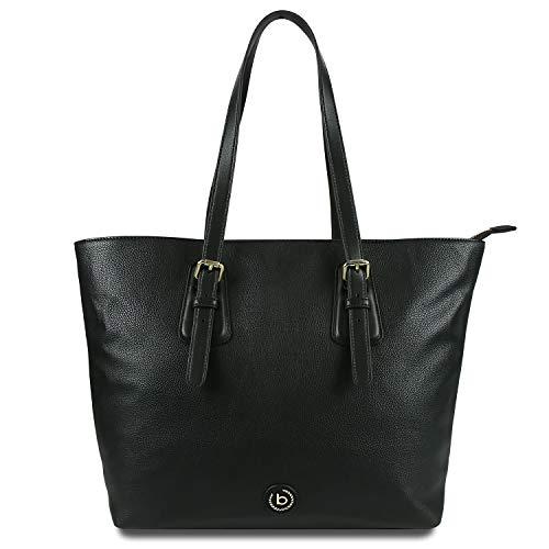 Bugatti Passione Shopper Handtasche Damen, Damenhandtasche Schultertasche – Schwarz