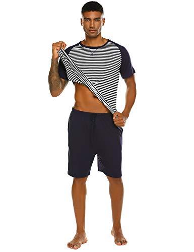 Pyjama Herren Kurz Schlafanzug Kurzarm Gestreiftes Jugend Schlafanzüge Zweiteiliger Anzug mit Top Streifen Hemd und Unifarbe Hosen für Sommer Blau S