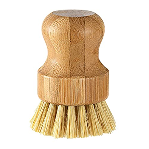Natural Bamboo Round Mini Palm Scrub Brush, Wooden Cleaning Scrubbers with Loofah Pads for Pots, Pans, Kitchen, Household Cleaning