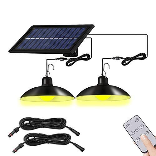 Luci a LED a energia solare, lampada regolabile con telecomando IP65 impermeabile per giardino, patio, fienile fattoria (bianco caldo, doppia testa)