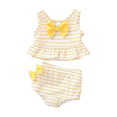 Baby Girl Bikini Striped Beach Swimsuit Ruffles Bathing Suit Adjustable Swimwear 2 Pcs Set (9-12 Months, B Yellow)