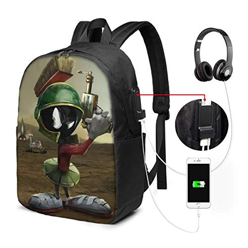 Shinyok Gunman Marvin-The-Martian The 17-Inch Laptop Backpack with USB Interface is Durable, Wrinkle-Resistant and Stretchable, Suitable for Schools, Offices, Travel, Outdoor Sports, Etc.
