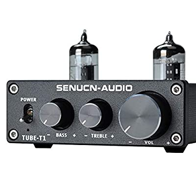 SENUCN-AUDIO Tube-T1 Preamplifier, 6J1 Vacuum Tube Amplifier Buffer Mini Hi-Fi Stereo Preamp with Treble & Bass Tone Control for Home Audio Player from Lychee Limited