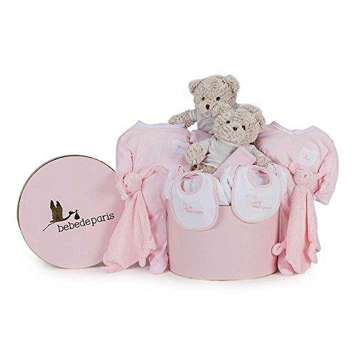 BebeDeParis | Regalos Originales para Bebés Recién Nacidos | Canastilla Bebé Clásica Gemelos | Caja Estilo Vintage | 3-6 Meses (Rosa)
