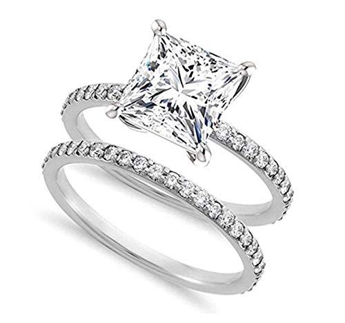 Venetia Realistic Supreme Princess Cut Simulated Diamond Ring Band Set 925 Silver Platinum Plated bgsqset1ct65 (6, 1.5)