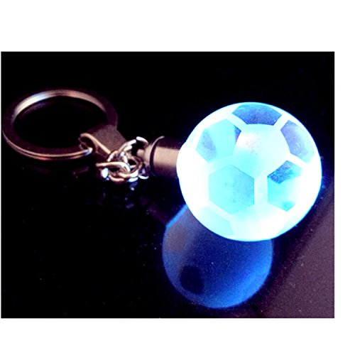 K9 Crystal Football Keychain, World Cup Gift, 30mm 7 Color Changing Crystal Ball Key Holder Bag Purse Buckle Pendant Baby Toy- Button Battery Crystal Poke Ball Night Lamp
