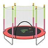 HANSHAN Trampolines Trampolín, Trampolín para Niños con Caja De Seguridad Net Great Outdoor Backyard Trampoline 5 Color 55 × 49 Pulgadas (Color : Red)