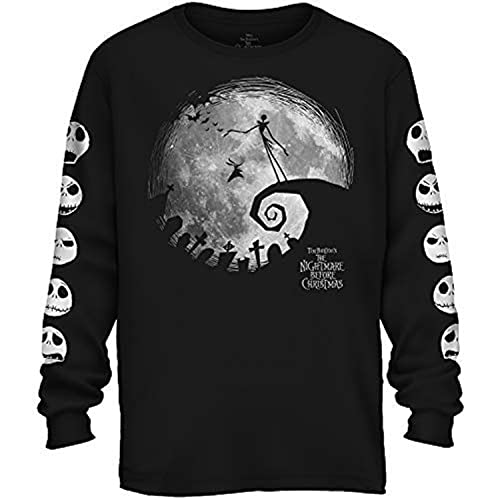 Disney Nightmare Before Christmas Nightmare Moon Long Sleeve Adult T-Shirt (Black,SM)