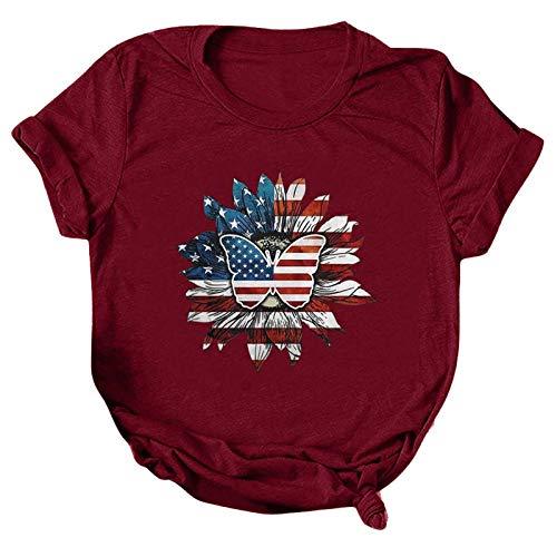 T-Shirts Damen Kurzarm,Independence Day bedrucktes lose Rundhalsausschnitt Blusen Tops Tshirt für Frauen Teenager Mädchen(rot,M)