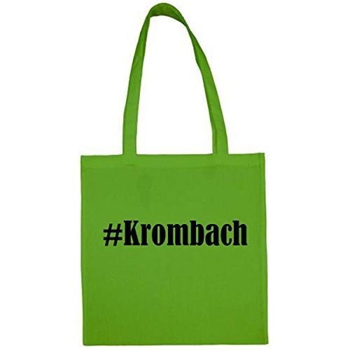 Tasche #Krombach Größe 38x42 Farbe Grün Druck Schwarz