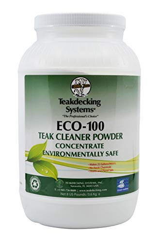 TeakDecking Systems Teak Cleaner Powder, 8lb - ECO-100 - Concentrated, High Performance - Non-Toxic, Acid-Free - EPA Recognized - Tough on Dirt, Gentle on Teak