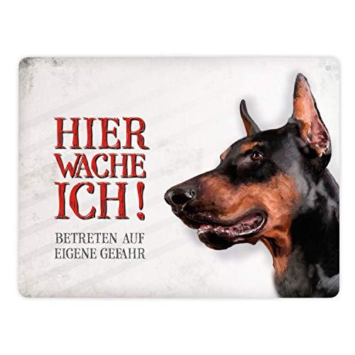 Metallschild XL mit Dobermann Motiv und Spruch: Betreten auf eigene Gefahr - Hier wache ich!