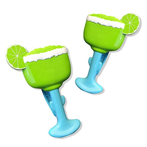 O2COOL Margarita BocaClips, Beach Towel Holders, Clips, Set of Two, Beach, Patio or Pool Accessories, Portable Towel Clips, Chip Clips, Secure Clips, Assorted Styles